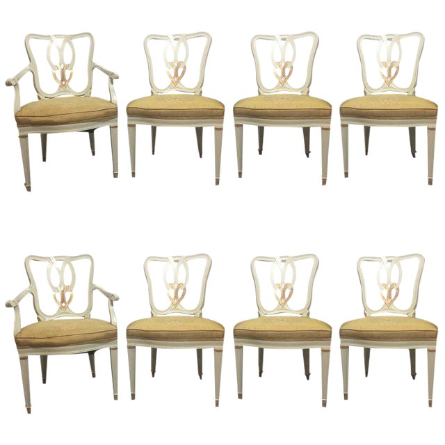 Hollywood Regency 8 Sweet Heart Dining Chairs Parcel Gilt Gold & Paint Decorated - Image 1 of 9
