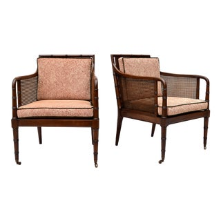 Hickory Chair Regency Style Faux Bamboo Caned Chairs on Brass Casters - a Pair For Sale