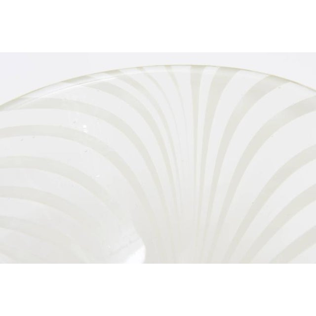 Glass Sculptural Optical Swirled Glass Bowl For Sale - Image 7 of 10