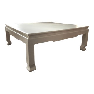 Large Square Asian Modern Linen Wrapped Coffee Table For Sale