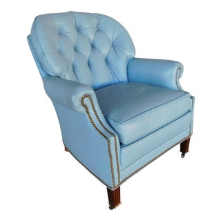 Hancock Moore Regency Style Tufted Back Leather Arm Chair For Sale