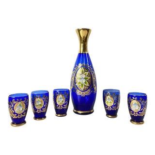 Antique 1900s Blue Glass Gold Flower Petal Leaf Decanter Mini Glasses Barware - Set of 6 For Sale