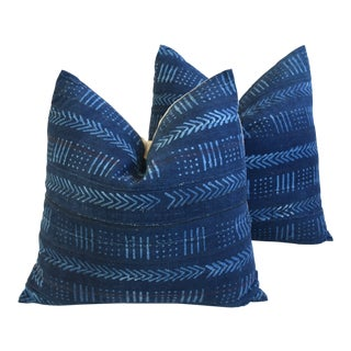 "Custom Indigo Blue Malian Tribal Feather/Down Pillows 22"" Square - Pair For Sale"