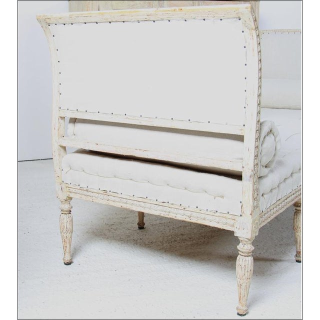18th C Gustavian Banquette with new Linen Upholstery