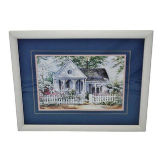 Vintage Framed Joy Evans Gingerbread Cottage Lithograph - Artist Signed For Sale
