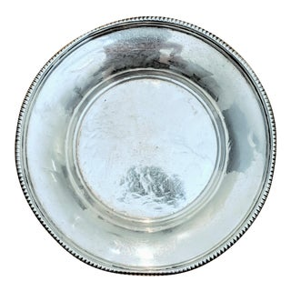 Sterling Silver Round Card or Jewelry Dish For Sale