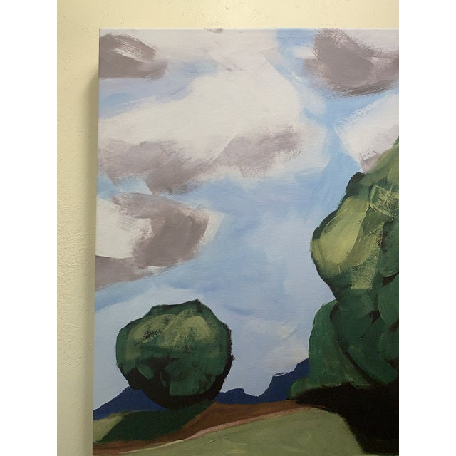 Canvas Summer Trees Print of Hand Painted Artwork - A Pair For Sale - Image 7 of 13