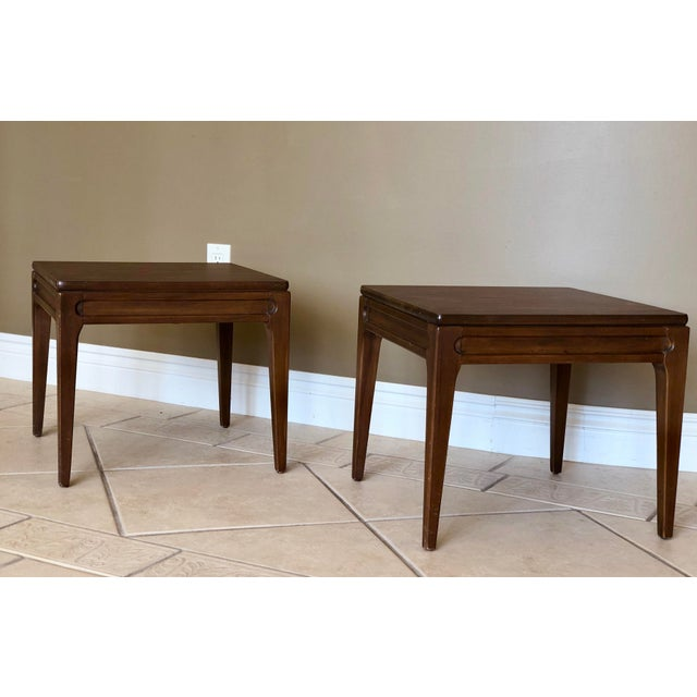 We are pleased to offer a pair of Mersman side tables, perfect for an entryway, as end tables or nightstands. In good...