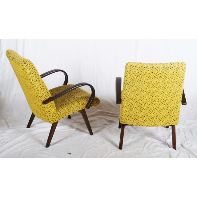 1960s Mid-Century Czech Upholstered Chairs, 1960s - A Pair For Sale - Image 5 of 11