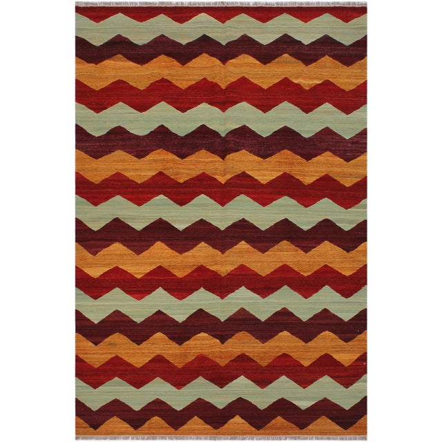 Amber Abstract Kilim Margaret Hand-Woven Wool Rug - 6′4″ × 9′ For Sale - Image 8 of 8