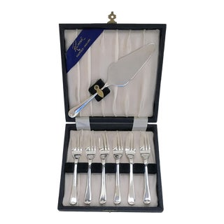 English Silver Plate Dessert Forks and Cake Knife - Set of 7 For Sale
