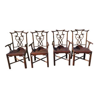 Maitland Smith Bamboo Chippendale Cockpen Cane Dining Chairs- Set 4 For Sale