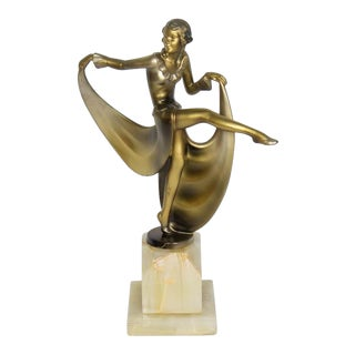 Art Deco Dancing Lady Figurine on White Onyx Base For Sale