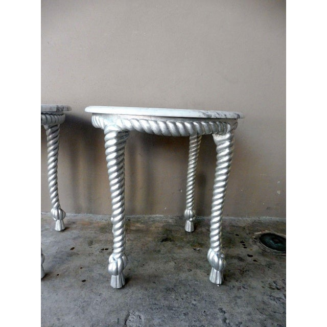 1970s 1970s Vintage Hollywood Regency Style Marble Topped Tables - a Pair For Sale - Image 5 of 9