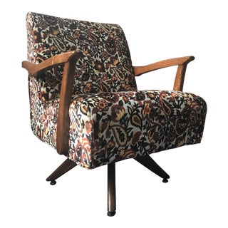 Mid Century 1950s Paisley Velvet Rocking Chair For Sale