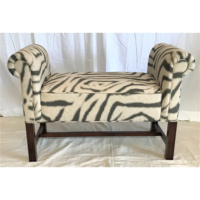 Our master upholsterer has beautifully re-upholstered this bench, and the result is spectacular. This scroll armed bench...