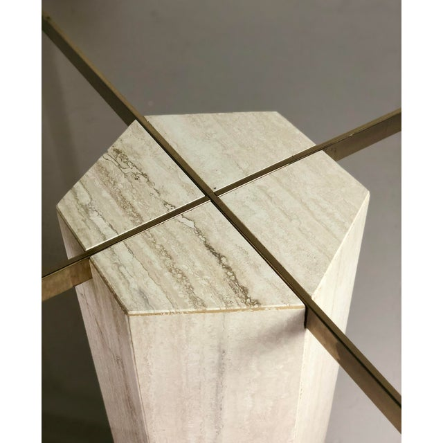 1980s Modern Artedi Round Travertine Stone and Glass Dining Table For Sale In Detroit - Image 6 of 9