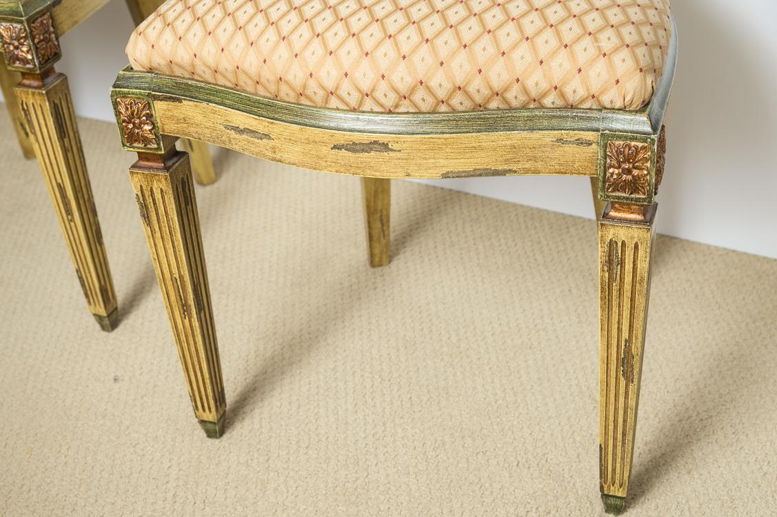 Italian Louis XVI Style Painted U0026 Gilt Chairs   Set Of 4
