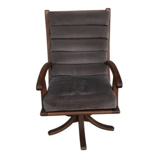 1980s Vintage Danish Teak Swivel Arm Chair For Sale