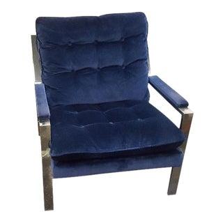 Vintage 1970s Chrome Blue Velvet Lounge Chair For Sale