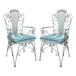Hollywood Regency Scrolled Iron Garden Chairs - a Pair