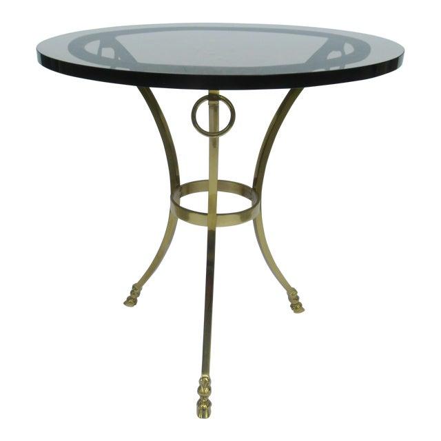 Vintage LaBarge Regency Brass Hoofed & Bronze Glass Gueridon Table For Sale