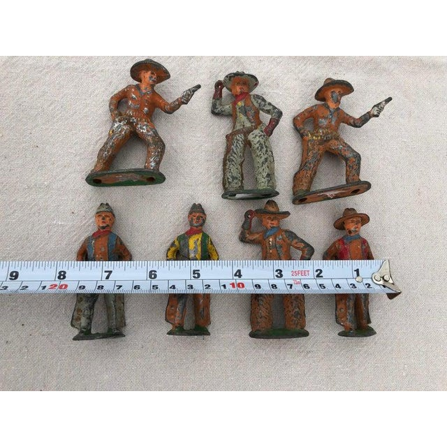 Metal 1950 Antique Lead Toy Cowboys - Set of 7 For Sale - Image 7 of 9