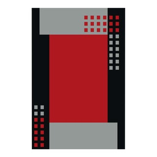 GEOMETRIC RED RUG WITH BORDER 5'3''x 7'7''