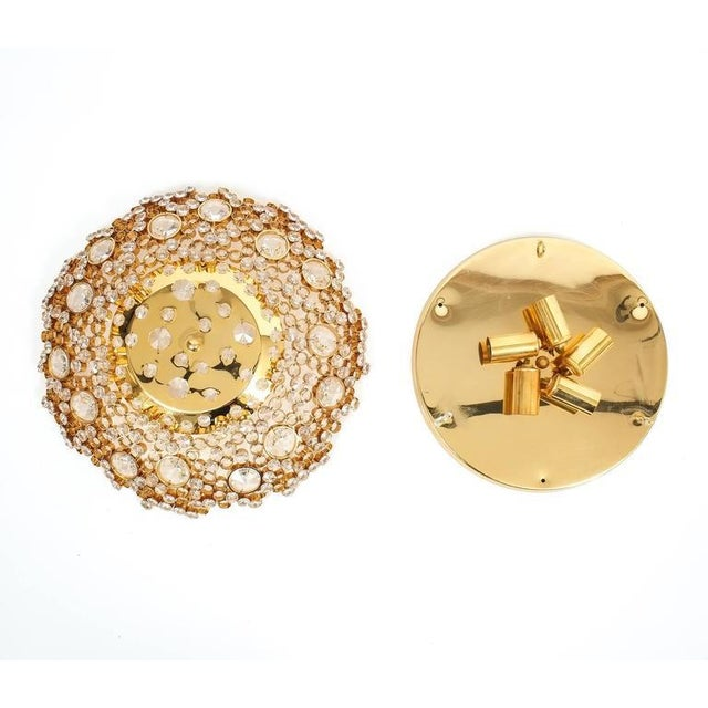 Palwa Palwa Crystal Glass Encrusted Gold Plated Brass Flush Mount Ceiling Light, 1960 For Sale - Image 4 of 5