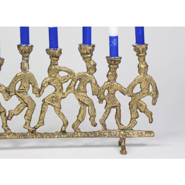 Figurative 1950's Folk Art Dancing Figures Brass Menorah Candle Holder For Sale - Image 3 of 7