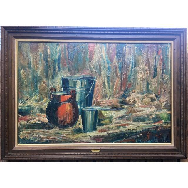Canvas Still Life Palette Knife Oil Signed, Maassen For Sale - Image 7 of 10