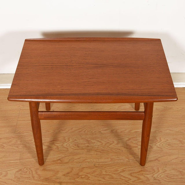 Mid-Century Modern Grete Jalk Teak End / Accent Table With Raised Lip Top For Sale - Image 3 of 7