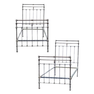20th Century Vintage Iron Bed Frames- A Pair For Sale