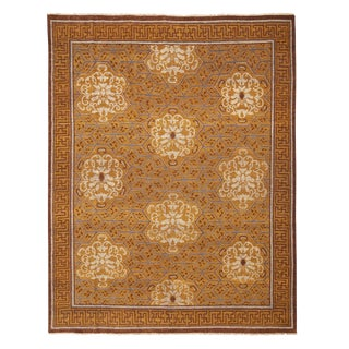 """Burano Brown and Beige Wool Rug-8'x10'1"""" For Sale"""