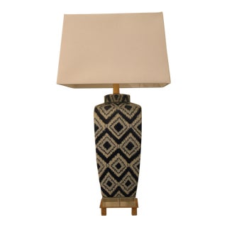 Blue & White Ikat Table Lamp For Sale