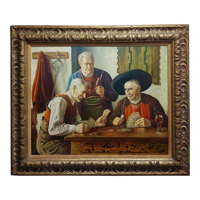 Otto Eichener -The Card Players -Oil Painting For Sale
