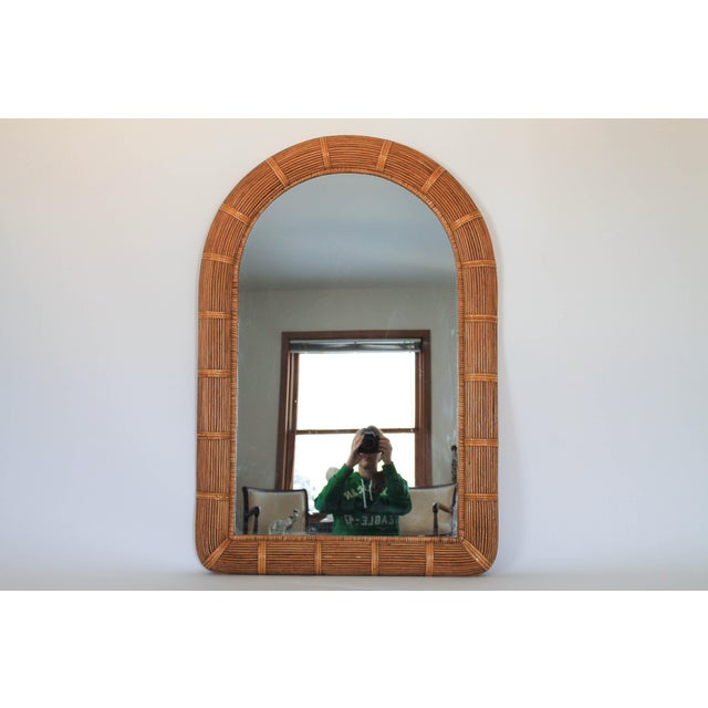 Wicker Boho Style Arched Wicker Mirror For Sale - Image 7 of 7
