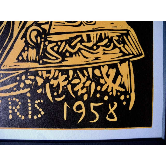 Orange Mid-Century Expressionist Lithograph of a Woodcut by Pablo Picasso for Vallauris, 1958 For Sale - Image 8 of 9