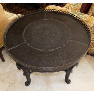 Theodore Alexander Iron Figural Accent Table With Tooled Metal Top Preview