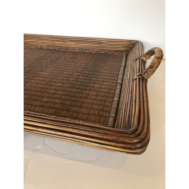Wood Wicker Rattan and Seagrass Handled Gallery Tray For Sale In Philadelphia - Image 6 of 11