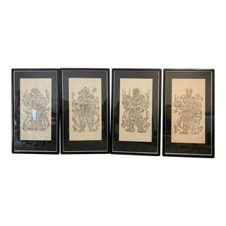 Vintage Cynocephaly Eastern Zodiacal Rubbings - Set of 4 For Sale