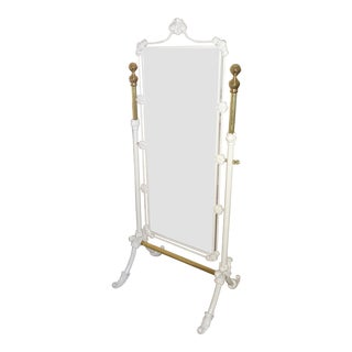 Boudoir White Iron & Brass Carved Standing Mirror For Sale