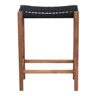 Danish Modern Counter Stool in Walnut and and Handwoven Black Paper Chord For Sale
