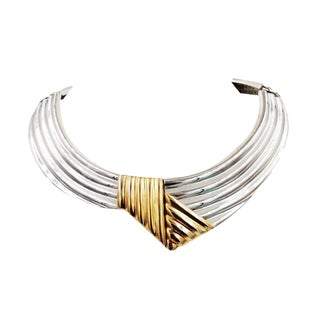 1980s Alexis Kirk Silvertone & Goldtone Knot Collar Necklace For Sale