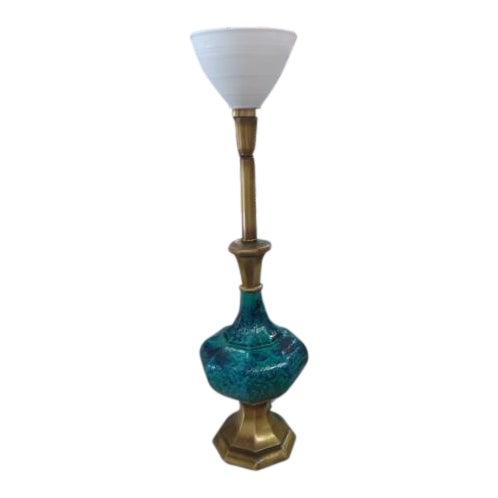 Mid-Century Turquoise Glazed Lamp - Image 1 of 9