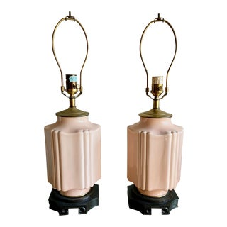 1980s Vintage Peach Ceramic Ethan Allen Chinoiserie Lamps - a Pair For Sale