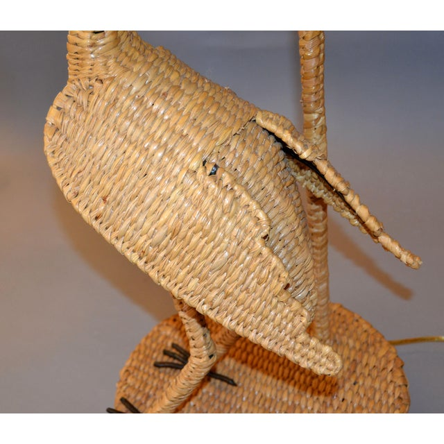 Vintage Mario Lopez Torres Egret Wicker Rattan Table Lamp, 1974 For Sale In Miami - Image 6 of 13
