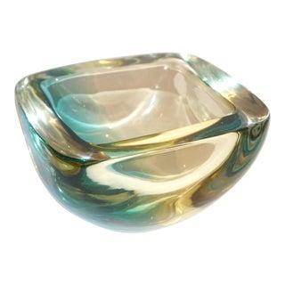 Venini 1970s Italian Square Golden Yellow and Acqua Green Murano Glass Bowl For Sale