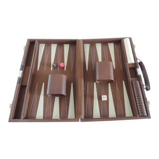 Vintage Brown and Tan Backgammon Game For Sale
