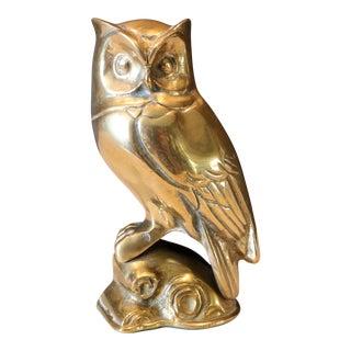 1970s Hollywood Regency Brass Owl Figurine For Sale